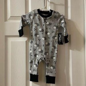 NWT Baby Starters Grey/Black Hedgehog Print Onesie